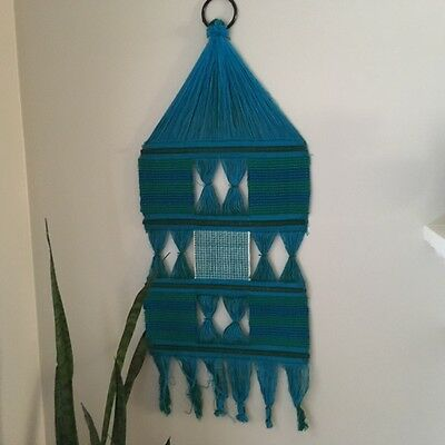 Vintage Mid Century Modern Turquoise/Green Hand Woven Woven 1970's wall hanging