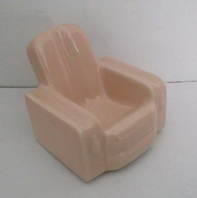 ART DECO Vintage ARMCHAIR ashtray pipe rest Peachy Pink