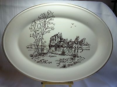 Horses - Lenox Stage Coach Pattern Serving Platter 16 Inches Oval - Made In Usa