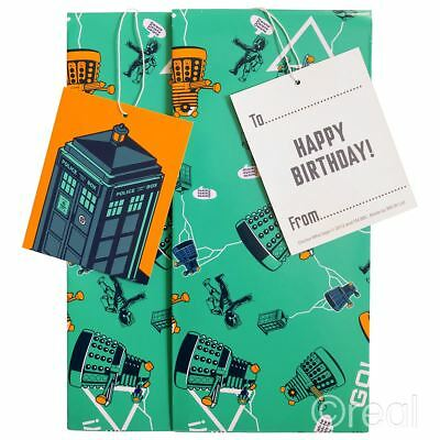 New Doctor Who Gift Wrap Set Birthday Tags Wrapping Paper TARDIS Dalek Official