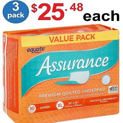 Equate Assurance Maximum Absorbency Premium Quilted Underpad XL 30 ct - (3 Pack)
