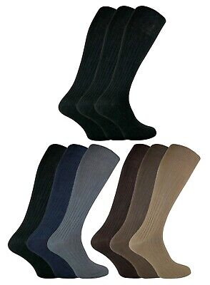 3 Pack Mens Thin 100% Cotton Extra Long Knee High Lightweight Ribbed Dress Socks