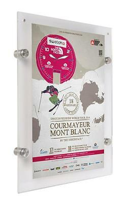 """11"""" X 17"""" Wall Mount Clear Acrylic Frame w/ Standoff Hardware and Magnet"""