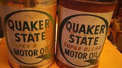 vintage Quaker state metal motor oil cans Oil City PA quart size empty