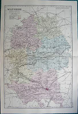 1891 Large Victorian County Map- Wiltshire,warminster,marlborough,cricklade