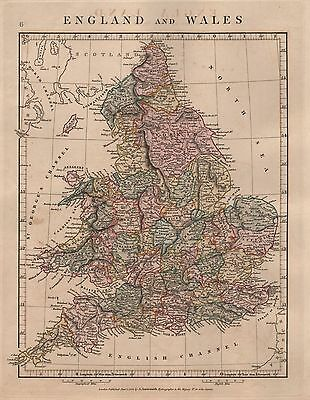 1828 Antique Arrowsmith Hand Coloured Map England And Wales