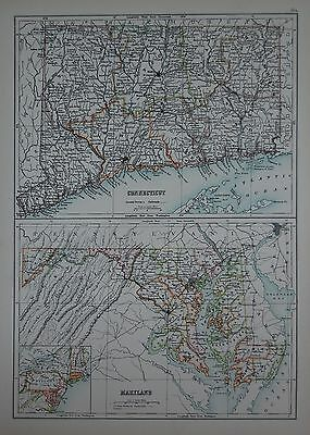 1897 U.s.states Large Map Connecticutt Maryland