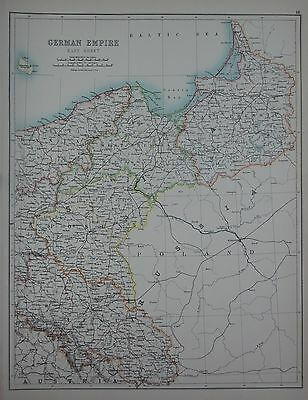 1897 German Empire East Prussia Silesia Large Map