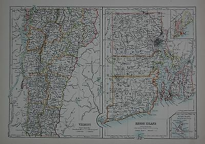 1897 U.s.states Large Map Vermont Rhode Island