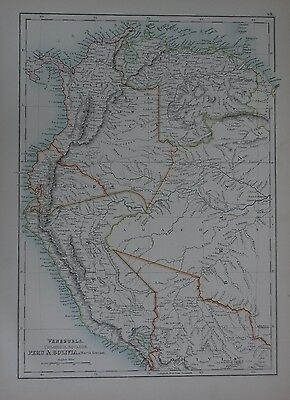 1897 Venezuela Peru & Bolivia (North) Large Map