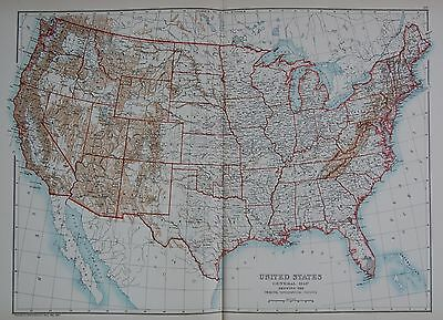 1897 United States General Map Topographical Feature Large Map