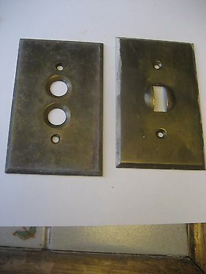 2 Antique Brass Wall Switch Plates/1 Flip-1 Push Button/marked Made In Usa