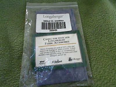 Longaberger Chambray Blue Handle Tie NIP