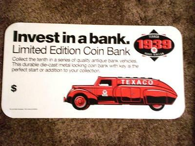 """Texaco 1939 Dodge Airflow Bank """"Invest in a Bank"""" Advertising Sign"""