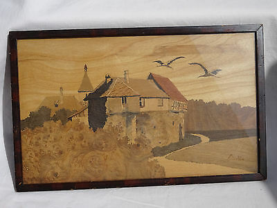 Antique Charles Spindler Marquetry Panel Bergheim 2 Storks