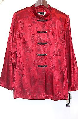 New M.h.m. Melissa Harper Chinese/ Asian Traditional Brocade Jacket Size 16 Red