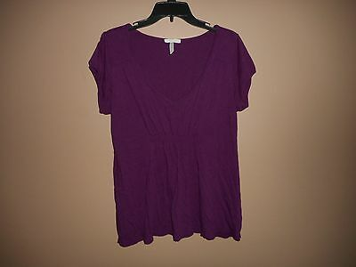 Old Navy Maternity Purple Knit Top Shirt Size Large Short Sleeve