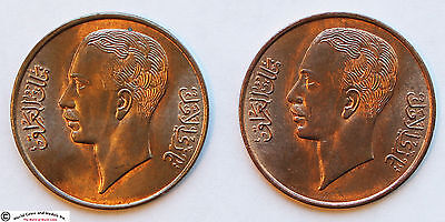 Iraq 1938 Bronze Pair Of 1 Fils. Royal Mint. Red-Brown And Brown Unc. Km-102.