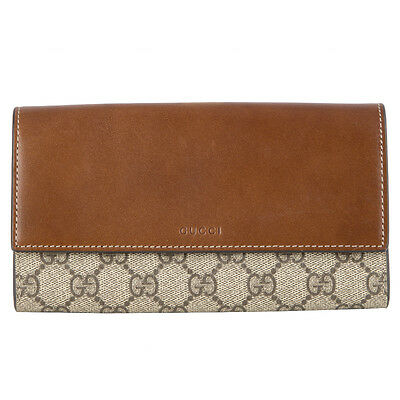 9dd01026cf3974 42540 auth GUCCI brown leather & GG Supreme canvas Continental Wallet