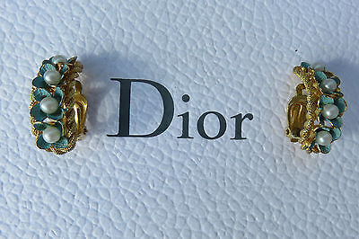 Rare Boucles Oreilles Christian Dior 1967 Vintage Earrings French