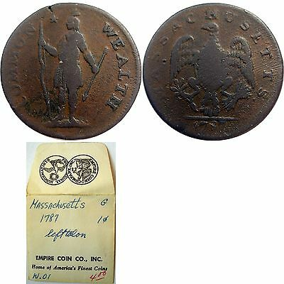 1787 Massachusetts Cent, Ryder 2b-E, VERY RARE VARIETY, w/old envelope, NEAR VF!