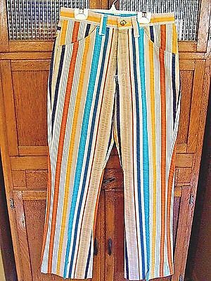 COOL FUNKY VINTAGE 1970's FARAH BRAND MEN'S STRIPED BELL BOTTOM PANTS HIPSTER