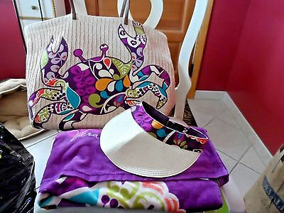 Vera Bradley Plum Crazy beach set - Crab straw tote, visor and beach towel,