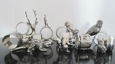VICTORIAN 9pc Set Silver Plate Figural ANIMAL Bird Dog Deer Cat Napkin Holders