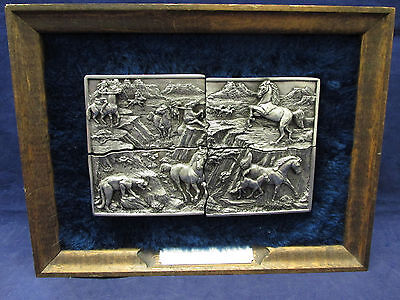 1984 Arryo Grande Buckle Co. Wild Horse Round Up 4pc Pewter Belt Buckle Set