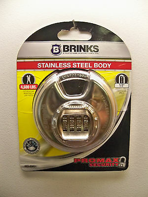 "New Brinks 4 Dial Resettable Combination 3 1/8"" Discus Padlock Free 1St Cls S&h"