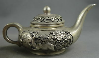 Collection Handmade Old Miao Silver Carving Deer & Pine Tree Auspicious Tea Pot