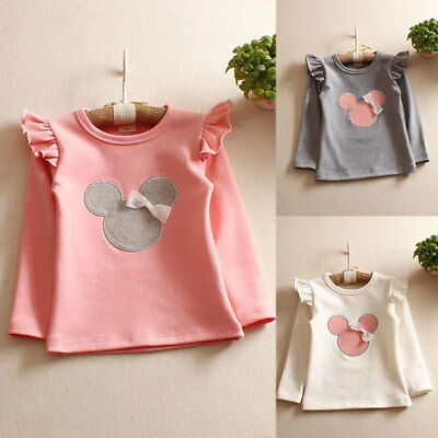 Toddler Girl Kids Long Sleeve Littlt Bear T-shirt Tops Cotton Cozy Shirt 2-6Y