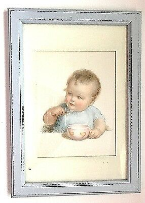 Tommy Eats His Porridge ~ Bessie Pease Gutmann Framed Print ~ Boy Bowl Chicks