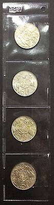 1966 Australian Round 50 cent Coin ( High Silver content) listing is for 4 coins