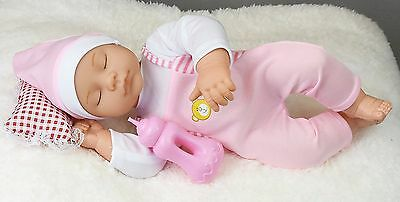 New Born Sleeping Baby Doll With Sounds Soft Pillow & Milk Bottle Gift Toy 14""