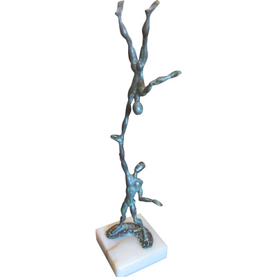 French Signed Irenee ROCHARD Art Deco Bronze ACROBATS Vintage Sculpture