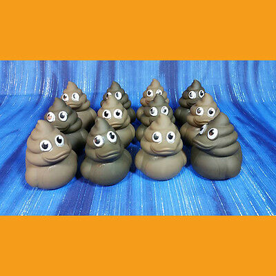 12 Poop Emoji Swirl Rubber Ducks Birthday Party Baby Shower Choose Your Color!