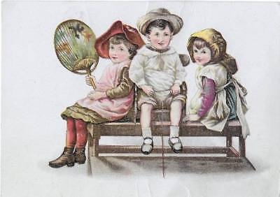 Antique Victorian Adv Card ~ Adorable Kids, Period Dress Fan, Silver Plated Ware