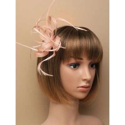 Nude looped hessian sinamay and feather fascinator on a Hair clip brooch Gift