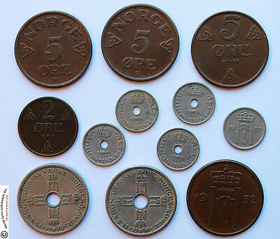 NORWAY GROUP OF 12 COINS. 1913 TO 1950s.
