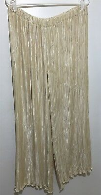 Vintage Ivory Cream Pleated Palazzo Pants M-L Adjustable