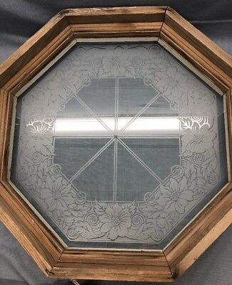 VTg.FROSTED OCTAGON SPECIALTY WINDOW Primitive Wood Frame ARCHITECTURAL SALVAGE