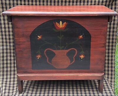 Primitive Folk Art Cabinet Chest