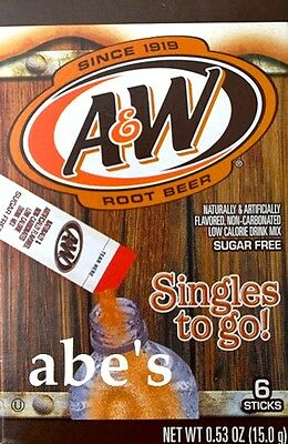 A&W® Sugar Free Root Beer Singles to Go Instant Drink Mix (3 Pack) 6 Count Boxes