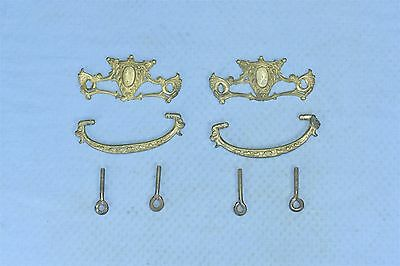 Antique SET of 2 VICTORIAN PIERCED CAST BRASS DRAWER HANDLE PULL HARDWARE #03619