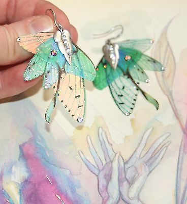 Fairy Queen Luna wing crystal magical enchanted fae pixie artisan earrings