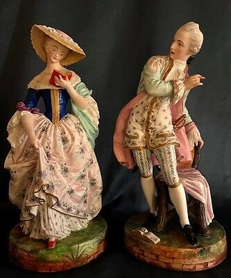 Antique French Jean Gille Pair Of Bisque Figurines Rare