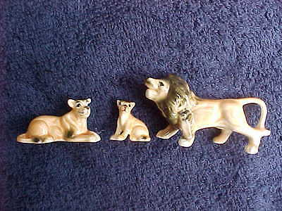 Vintage china lion cat family figurines 3 piece set