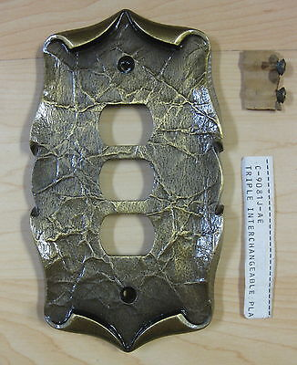 Vintage Amerock CARRIAGE HOUSE- 3 hole -SWITCH PLATE OUTLET COVER brass