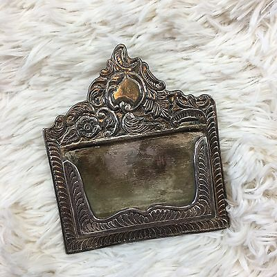 Vintage Ornate Standing Desk Top Business Card Holder Hand Engraved